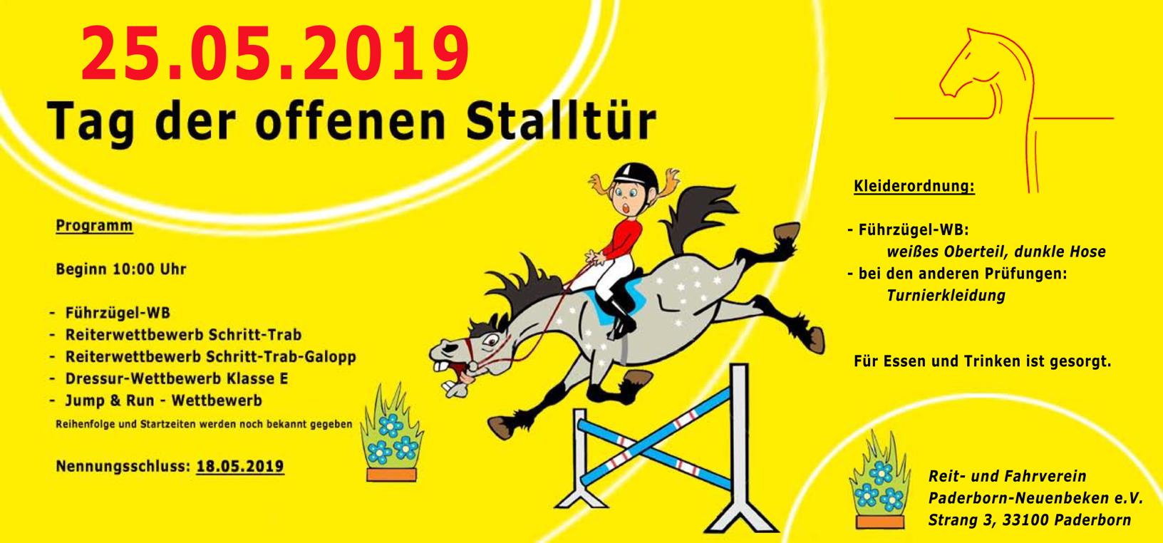 """Einladung zum """"Tag der offenen Stalltür"""" am 25.05.2019 ab 10 Uhr"""