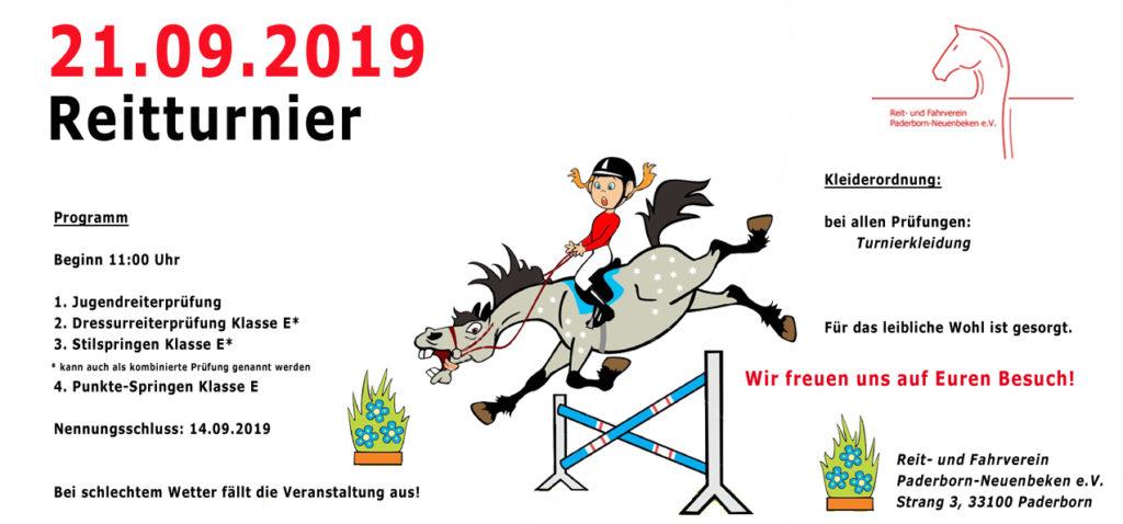 Einladung Reitturnier am 21.09.2019 ab 11 Uhr